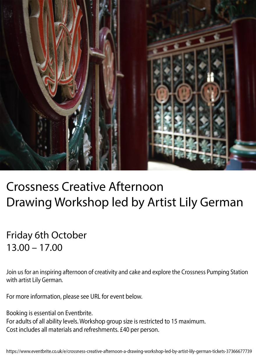 Crossness drawing workshop poster